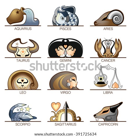 Zodiac signs Signs of the zodiac vector icons set - stock vector