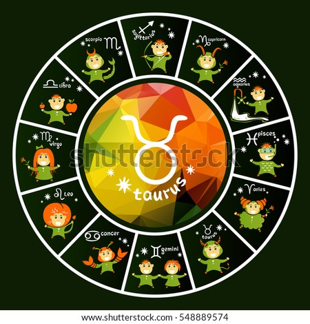 Zodiac signs vector set isolated on dark background. Cartoon funny characters. Design elements for calendars or cards.