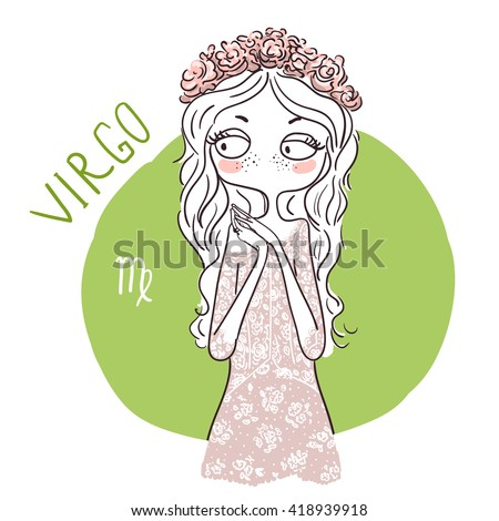 Zodiac signs Virgo. Vector illustration of the girl. - stock vector