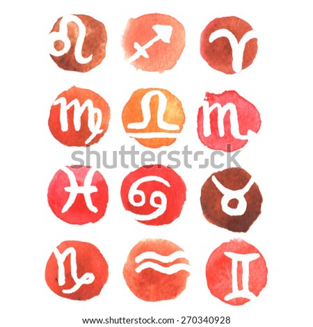 Zodiac signs. watercolor zodiac signs. Set of simple round zodiac icons. Zodiac Symbol icons on color background. Vector illustration. love horoscope.female  horoscope. - stock vector