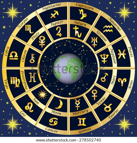 Zodiac Signs, Zodiac constellations and planets rulers. Vector illustration.