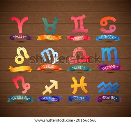 Zodiac Symbol icons on realistic wooden background. Vector illustration. - stock vector
