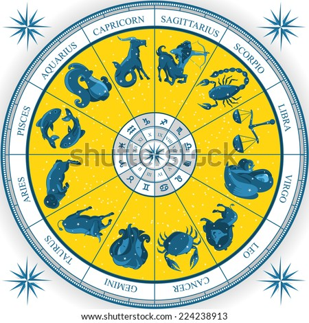 Zodiac Wheel Astrology Natal Chart cartoon vector illustration