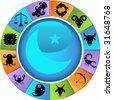 Zodiac Wheel Icon Set - stock vector