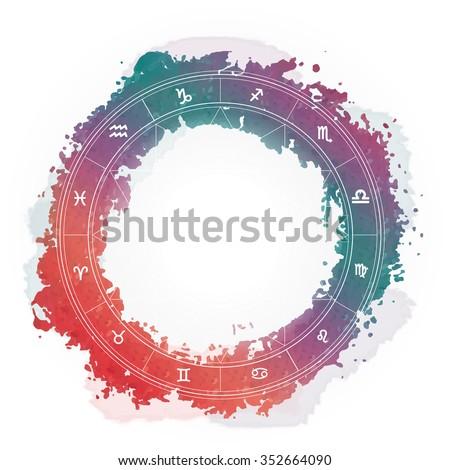 Zodiac wheel monochrome, horoscope chart - stock vector