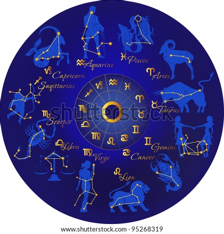 Zodiac with constellations and zodiac signs - stock vector