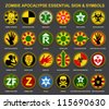Zombie Apocalypse Essential Sign & Symbols - stock photo