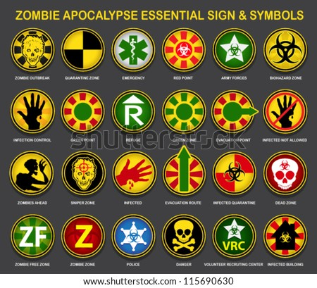 Zombie Apocalypse Essential Sign & Symbols - stock vector
