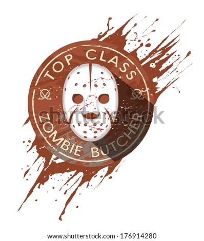 Zombie Butcher Badge - stock vector