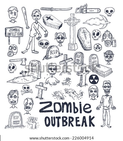zombie cartoon doodle, vector illustration. - stock vector