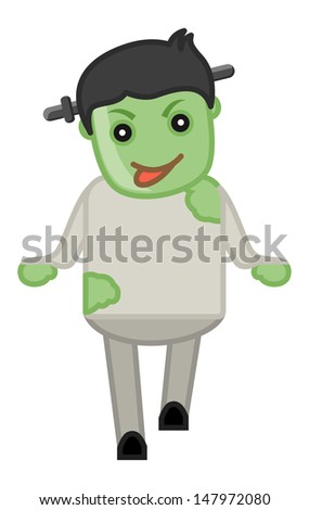 Zombie Costume on Halloween - Cartoon Business Characters - stock vector
