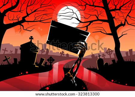 Zombie Dead Skeleton Hand Hold Sign Board, Red Blood River Halloween Arms From Ground Cemetery Vector Illustration - stock vector