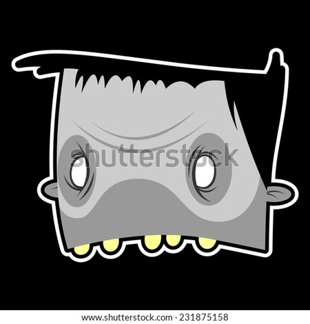 zombie face on black background - stock vector