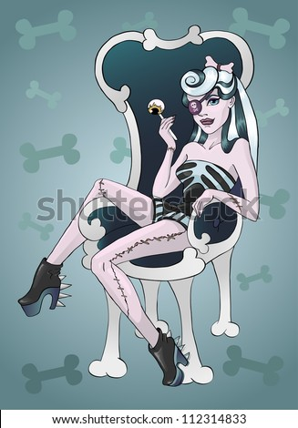 Zombie girl and chair of the bones on a blue background