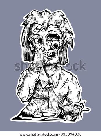 zombie hand draw vector cartoon illustration - stock vector