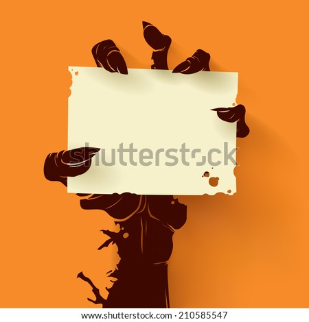 Zombie Holding Sign Halloween Sign Stock I...