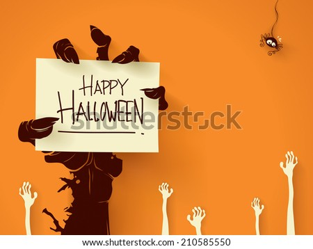 Zombie hand holding a blank sign card with ghosts hand on background - stock vector