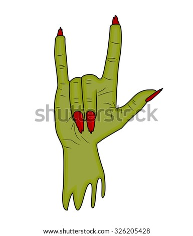 Zombie hand Horns, Satan sign finger up gesture Halloween vector. realistic cartoon illustration isolated on white background . Image of scary monster hand with torn, riven green skin. - stock vector