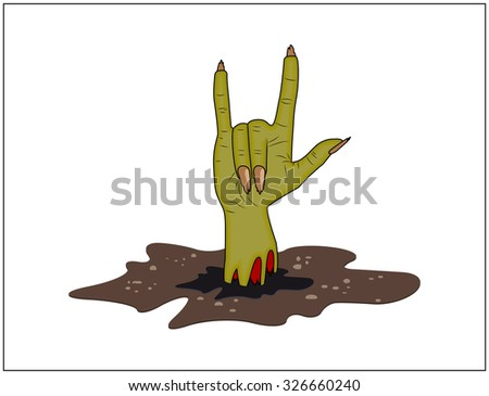Zombie hand Horns, satan sign out of ground halloween vector. realistic cartoon illustration isolated on white background. Image of scary monster finger up gesture - stock vector