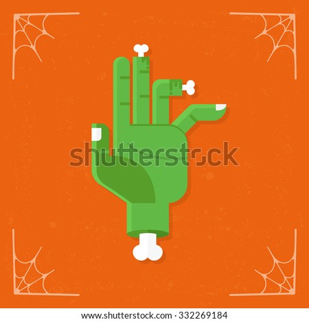Zombie Hand icon. Vector Halloween flat illustration isolated on orange stylized background - stock vector