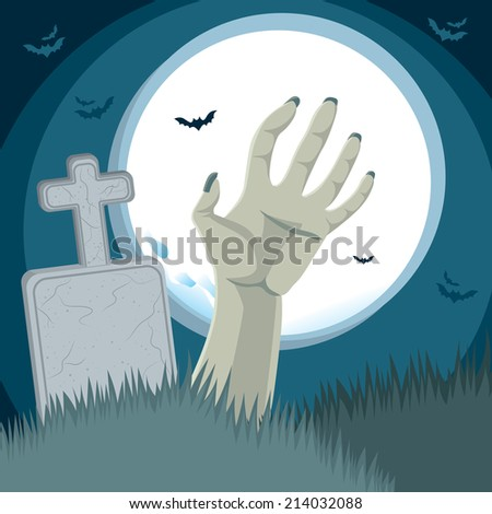 Zombie hand rising from the grave on cemetery ground in front of tombstone with full moon on background - stock vector