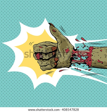 Zombie hand shows like gesture, hand drawn vector illustration - stock vector