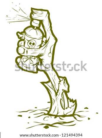 Zombie hand sticking out of the ground and drawing graffiti. Isolated on white background illustration. - stock vector