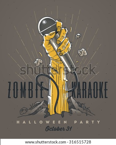 Zombie hand with microphone from ground -  line art invitation for Halloween karaoke party - stock vector