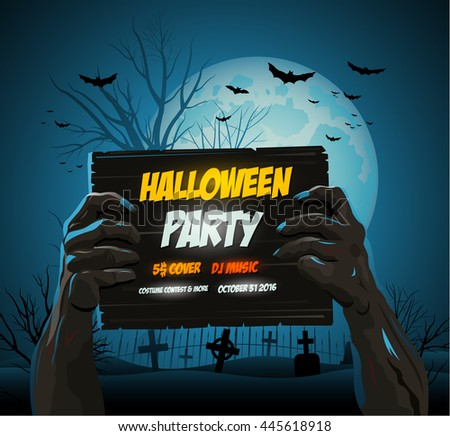 Zombie hands holding a halloween poster ad - stock vector