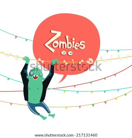 Zombie hanging on garlands with bubble for text. Vector colorful illustration - stock vector
