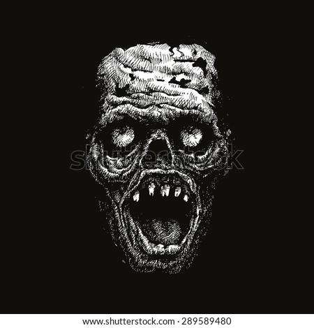 zombie head hand drawn. vector illustration - stock vector