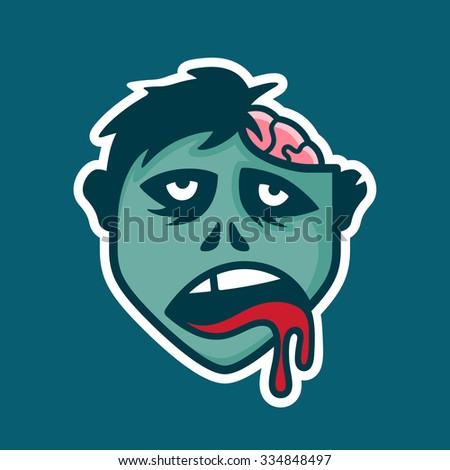 Zombie head icon illustration with exposed brain