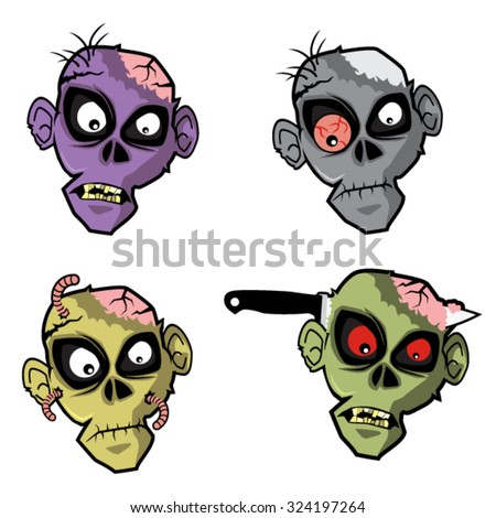 Zombie Head set.Various zombie head, with different colors. suitable for a mask, logo, decoration or mascot on Halloween party