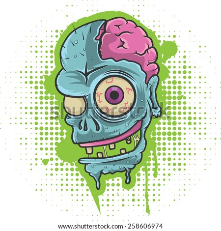 Zombie Head/ Zombie head on grunge background, layered and editable EPS 10. - stock vector