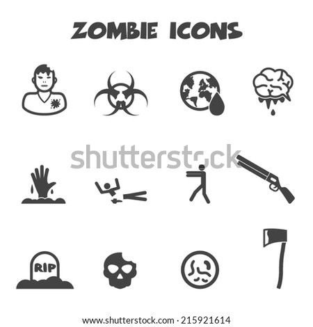 zombie icons, mono vector symbols - stock vector