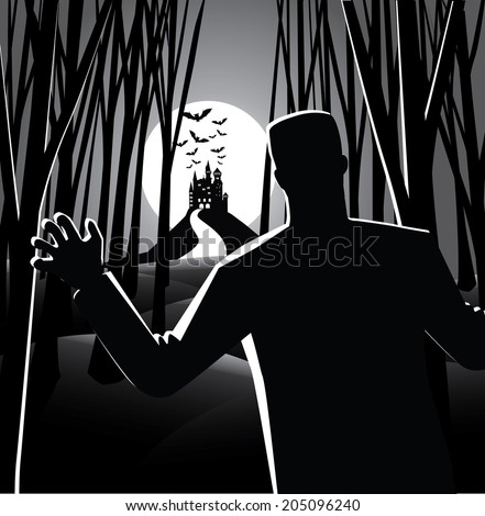 Zombie in the moonlight. EPS 10 vector, grouped for easy editing. No open shapes or paths. - stock vector