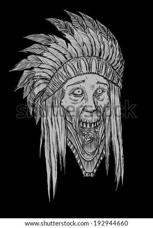Zombie Indian Head - stock vector