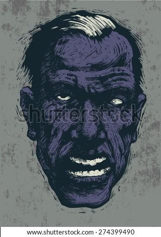 zombie. linocut style. vector illustration - stock vector