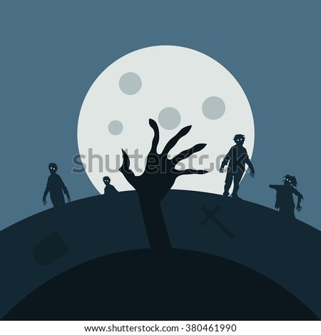 Zombie night background illustration Zombie hands,silhouettes, halloween background. Zombies night vector background - stock vector