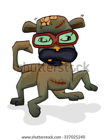 zombie of dog cartoon illustration - stock vector
