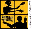 Zombie Outbreak silhouettes - stock photo