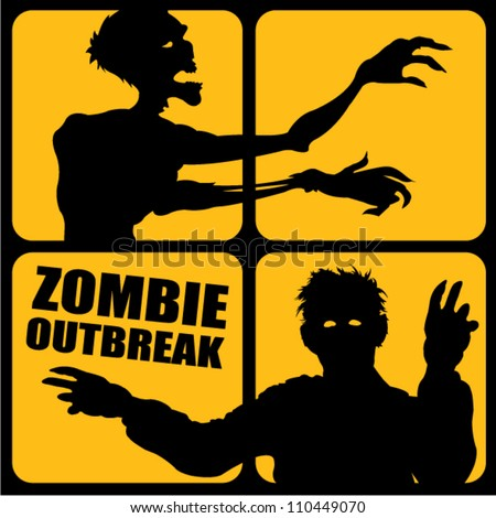 Zombie Outbreak silhouettes - stock vector