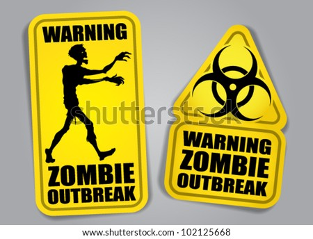 Zombie Outbreak Warning Stickers / Labels - stock vector