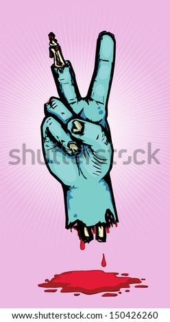 Zombie Peace Sign - stock vector