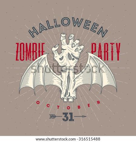 Zombie rotten hand with bat wings - Halloween line art vector illustration - stock vector