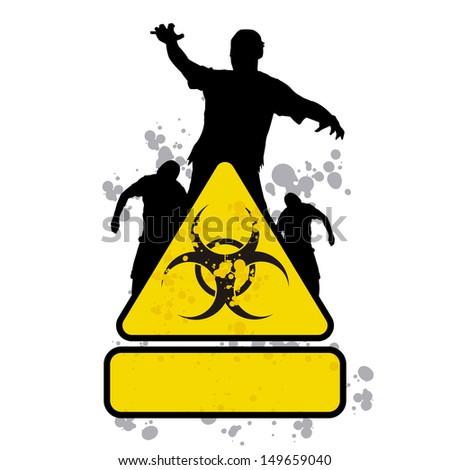 zombie sign 1 - stock vector