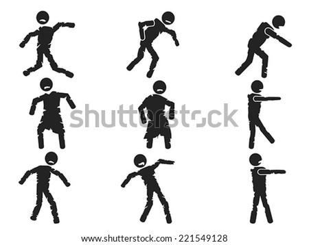 zombie stick figure set - stock vector