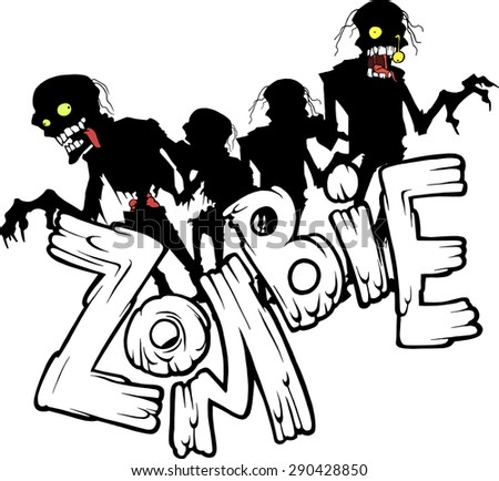 Zombie title with the scary and funny walking zombie characters in black and white silhouette