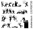 Zombie Undead Attack Apocalypse Survival Defense Outbreak Stick Figure Pictogram Icon - stock vector