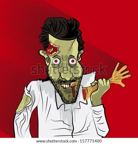 Zombie vector portrait on red blackground - stock vector